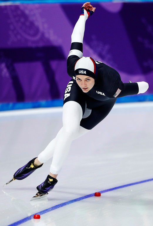 . Heather Bergsma of the U.S. competes during the women\'s 1,500 meters speedskating race at the Gangneung Oval at the 2018 Winter Olympics in Gangneung, South Korea, Monday, Feb. 12, 2018. (AP Photo/Petr David Josek)