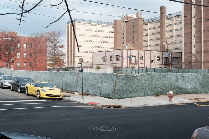 Corvette Stingray (C7) parked on East 19th Street in Constable Hook, Bayonne, New Jersey on November 26, 2016.  Photographed with a Fujifilm X-Pro2 and XF27mmF2.8 lens at 27 mm and  1/125 sec | ƒ / 8.0| ISO 200.  © Victoria and Michael Mroczek  R:\RAW\2016\11\11-26-16 Scarlett's First Walk\11262016-Scarlett-First-Walk-Mroczek-28.RAF