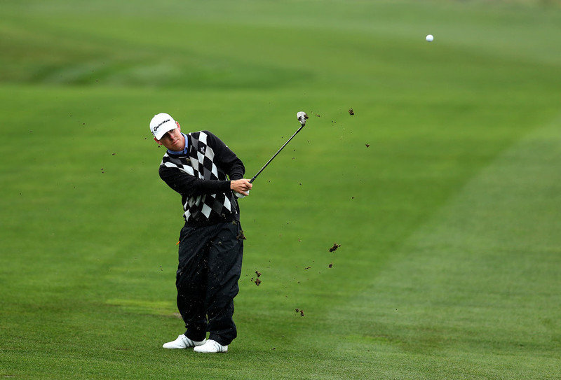 . Justin Leonard hits onto the fourth green during the third round of the Farmers Insurance Open on the South Course at Torrey Pines Golf Course on January 27, 2013 in La Jolla, California.  (Photo by Stephen Dunn/Getty Images)