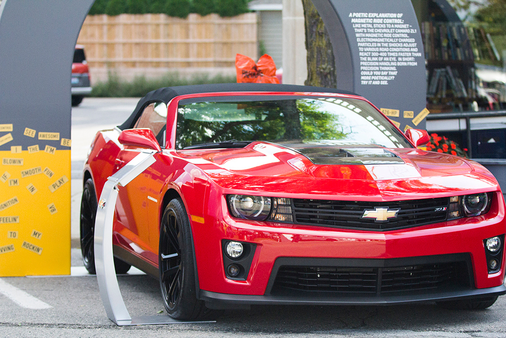 Description of . Chevrolet set up some exhibits of their newer models where Woodward Avenue meets Old Woodward in Downtown Birmingham, particularly the new Camaro ZL1 convertible. Photo by Dylan Dulberg