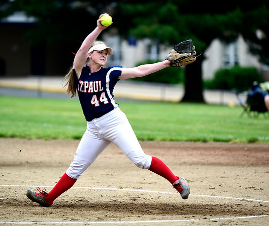 5/30/2019 Mike Orazzi | Staff St. Paul's Abby Poirot (44) during a 6-4 win over Hale Ray in a Class S Second Round softball game in Bristol Thursday.