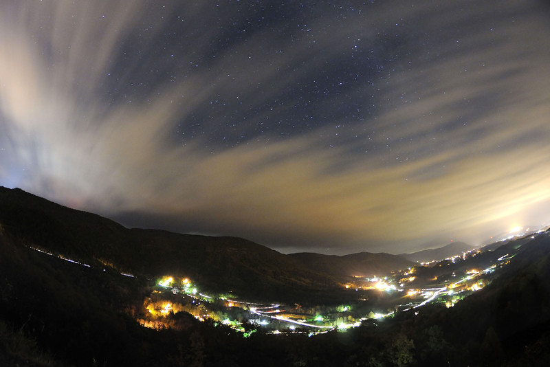 Brilliant stars peak out through a gap in the clouds at the Powell Valley Overlook on Highway 23 in Norton, VA on Saturday, October 25, 2014. Copyright 2014 Jason Barnette