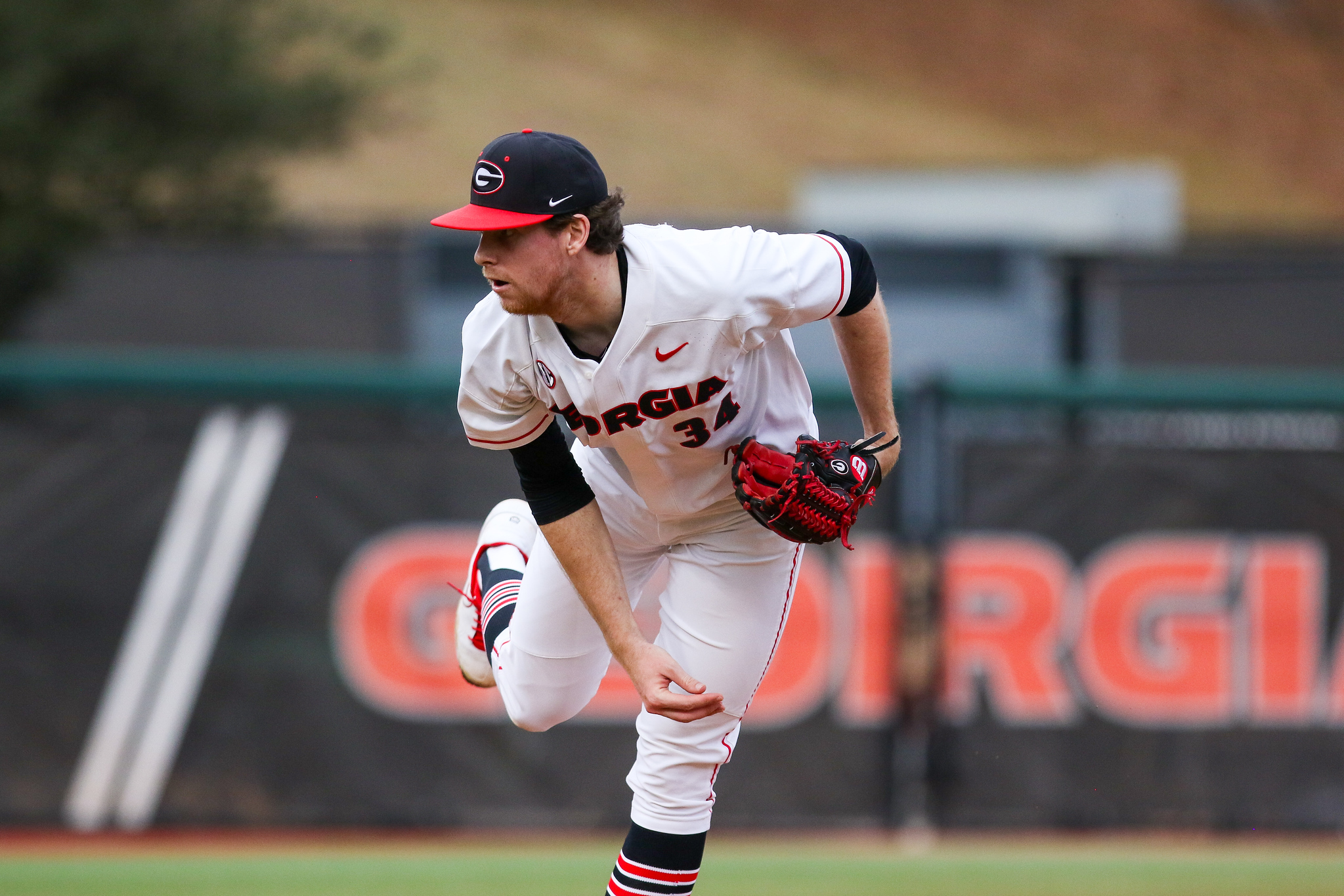 Georgia pitcher Garrett Brown (34) during a game against Kennesaw at Foley Field in Athens, Ga., on Tues., Feb. 25, 2020. (Photo by Chamberlain Smith)