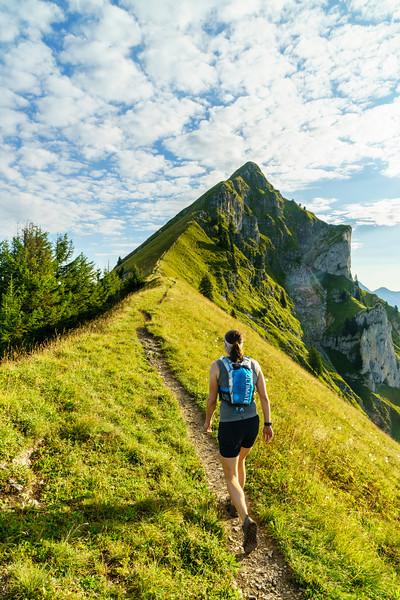 Daphnee Tuzlak ascends towards the Augstmatthorn in Switzerland.