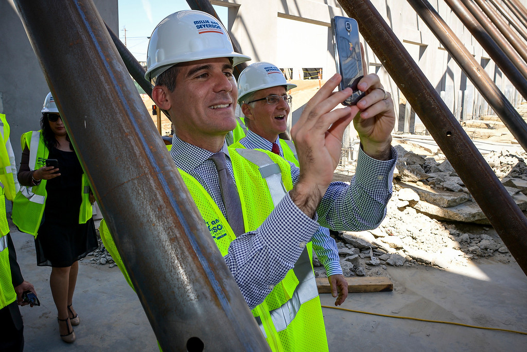 . Los Angeles mayor Eric Garcetti and Councilmember Paul Krekorian, tour the construction site of the new Bobrick Washroom Equipment company being built in North Hollywood on Monday, March  17, 2014.   ( Photo by David Crane/Los Angeles Daily News )