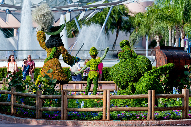 Peter Pan Topiaries 2012<br /> Peter Pan Topiary display between Future World and the World Showcase, Epcot
