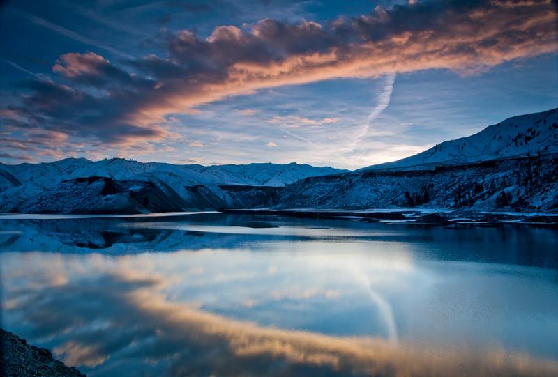 Cresent Sunrise.  Arrowrock Reservoir, Id.