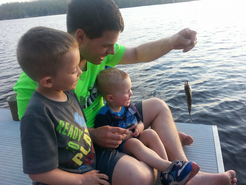 . The hefty haul in this photo is being credited to Ryan Chenevert, 2, of Farmington. Admirers include father Drew and big brother Tyler. The fish was caught in June on Smith Lake in Hayward, Wis. (Photo courtesy grandfather Doug Chenevert)