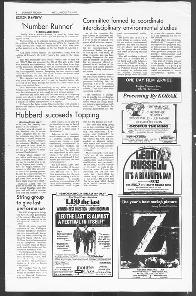 Summer Trojan, Vol. 62, No. 11, August 05, 1970