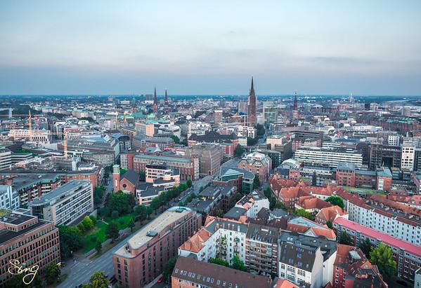 Stunning View From The St. Michaelis Church. Hamburg, Germany
