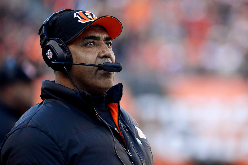 . Cincinnati Bengals head coach Marvin Lewis watches from the sidelines in the first half of an NFL football game against the Baltimore Ravens, Sunday, Dec. 30, 2012, in Cincinnati. (AP Photo/Michael Keating)