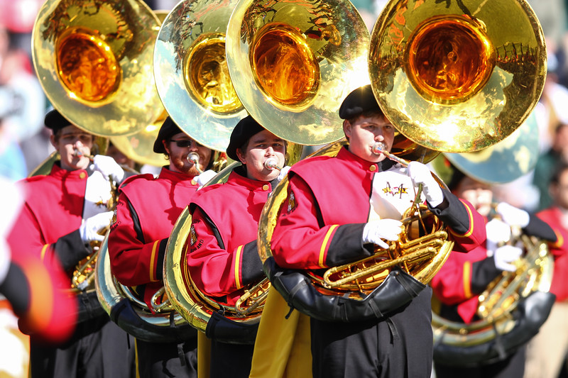 Maryland band tuba players during the halftime show