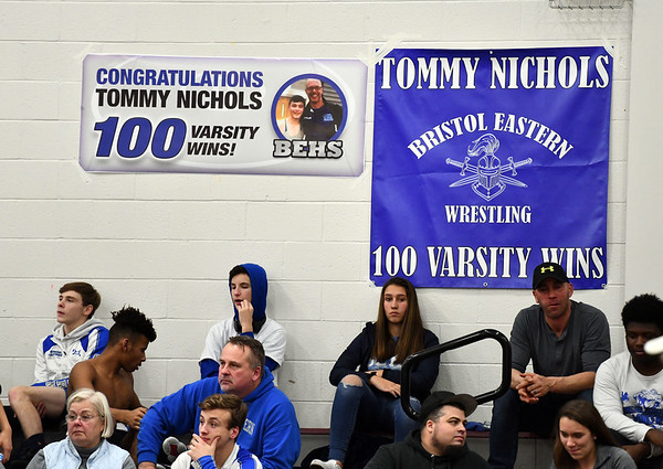 1/4/2020 Mike Orazzi | StaffrA banner for Bristol Eastern's Tommy Nichols during Saturday's wrestling tournament at Bristol Central High School.