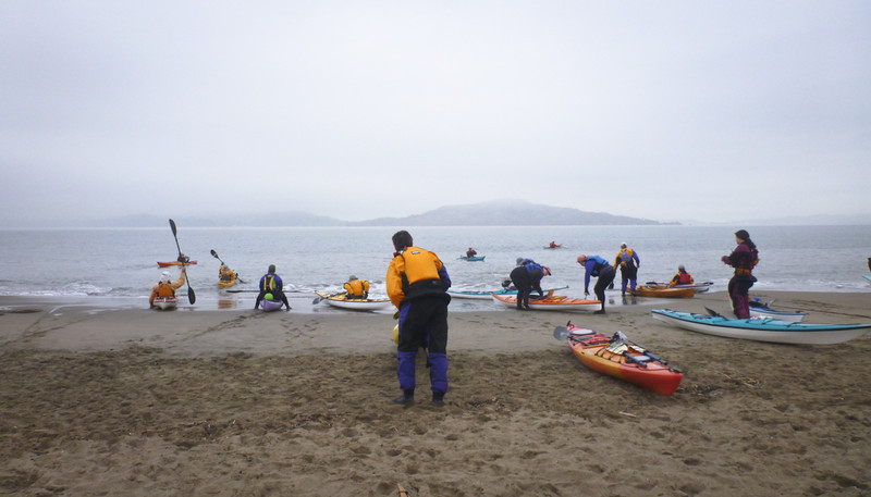 And our floatilla of now 38 boats, heads off Crissy Field beach.