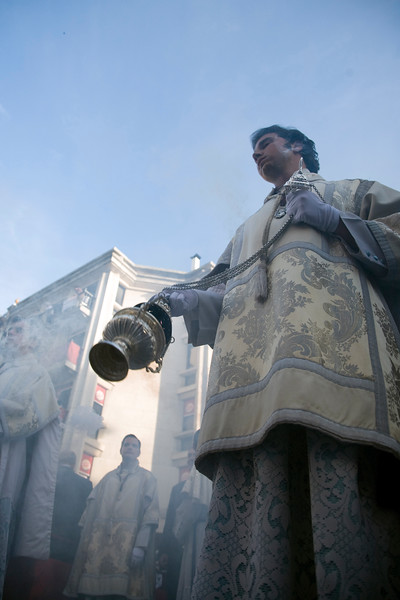 Altar boy with a censer, Holy Week procession, Seville, Spain, 2008