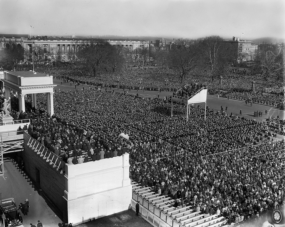 . A crowd estimated at 75,000 people jams Capitol Plaza in Washington, Jan. 20, 1941, for the third term inauguration of President Franklin Delano Roosevelt, as the president was making his inaugural address. (AP Photo)