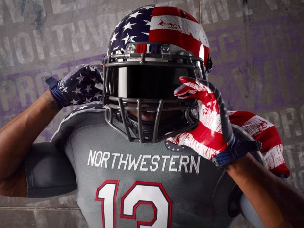 """. <p>10. (tie) NORTHWESTERN�S �WOUNDED WARRIOR� UNIFORMS <p>Blood-splattered garb looks more like a tribute to the O.J. crime scene. (unranked) <p><b><a href=\'http://www.npr.org/blogs/thetwo-way/2013/11/06/243471660/splattered-flag-themed-football-uniforms-have-many-seeing-red\' target=\""""_blank\""""> HUH?</a></b> <p>   (Courtesy photo)"""