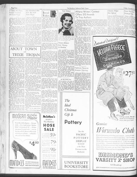 Daily Trojan, Vol. 28, No. 44, November 20, 1936