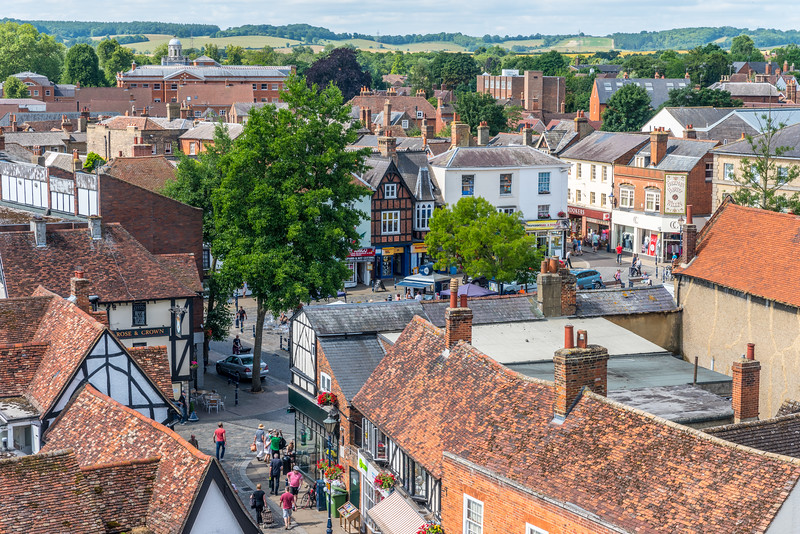 View of Hitchin Town Centre from the tower of St Mary's Church, Hertfordshire