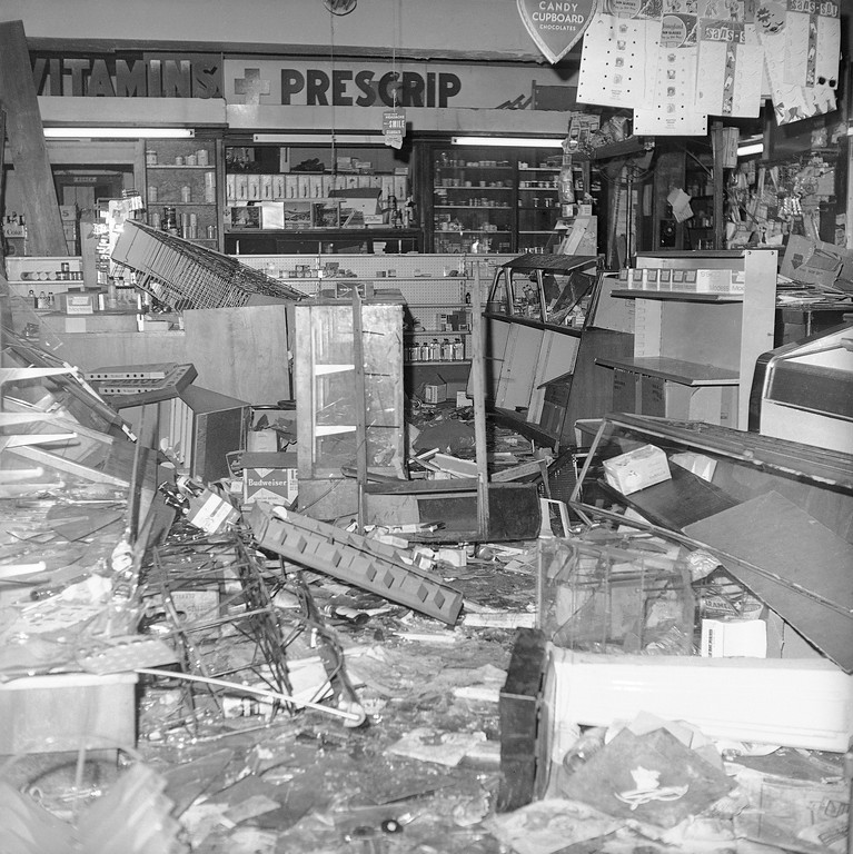 . Looters wrecked this drug store in the Hough area on Cleveland?s east side as rioting broke out in the predominantly black section, July 19, 1966. Roving gangs of teenagers were blamed for widespread looting, vandalism and fire-bombing of businesses in the area. (AP Photo/Julian C. Wilson)