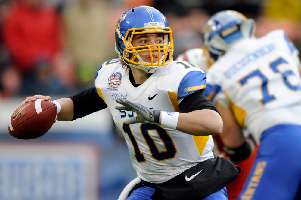 Description of . San Jose State quarterback David Fales (10) looks to pass against Bowling Green during the first half of the Military Bowl NCAA college football game, Thursday, Dec. 27, 2012, in Washington. (AP Photo/Nick Wass)