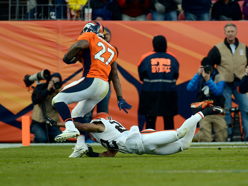 . Denver Broncos running back Knowshon Moreno (27) runs the ball down inside the ten yard line during the second half.  The Denver Broncos vs Cleveland Browns at Sports Authority Field Sunday December 23, 2012. Joe Amon, The Denver Post
