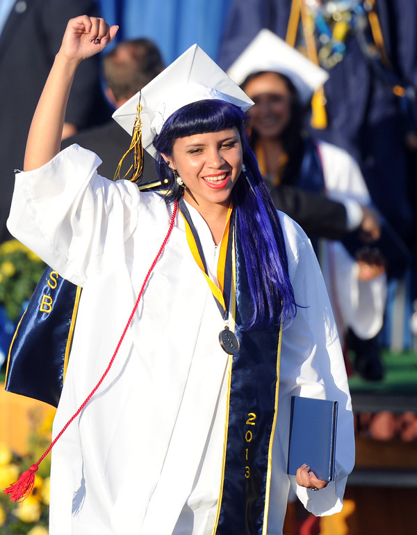 . Graduate Bianca Recendez celebrates after receiving her diploma during the Montebello High School commencement at Montebello High School on Thursday, June 20, 2013 in Montebello, Calif.  (Keith Birmingham/Pasadena Star-News)