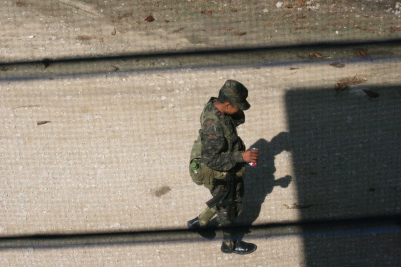 And following el Policia, was the millitarios with el machino el gunno! (I wonder if that's real spanish)