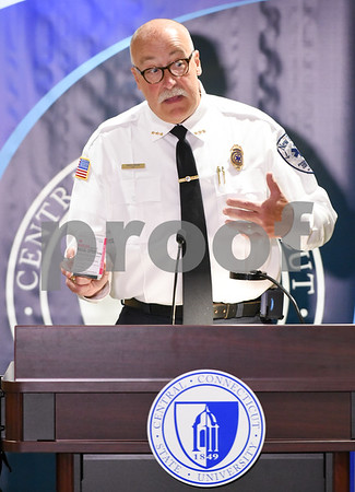 09/20/17 Wesley Bunnell | Staff A conference was held at CCSU on Wednesday morning to announce the availability of Narcan on all 16 of the CSCU campuses by the end of the fall 2017 semester. CEO of New Britain EMS Bruce Baxter holds a two doses of Narcan Nasal Spray.
