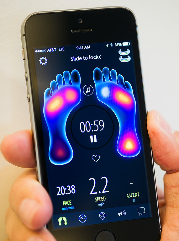 . Textile sensore, microelectronics and software solutions that tarkget health and fitness information to your phone for analysis from Sensoria Fitness Socks, features textile pressure sensors, wicking fabric, washable, Accelerometer, Magnetic snaps and Bluetooth Smart Ready. Wearable Tech LA is the first entertainment and health wearable conference held in Los Angeles. The event will showcase wearable technology, which is currently the fastest growing category in technology July 17, 2014 at the Pasadena Convention Center.(Photo by Walt Mancini/Pasadena Star-News)