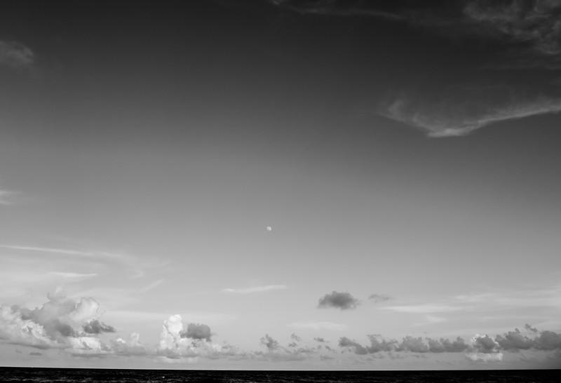 b+w beach clouds moon