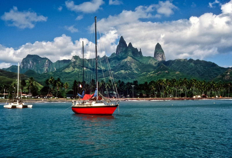 Anchored in Haka Hau.  The island of Ua Pou is considered one of the most beautiful islands in the South Pacific with it's majestic bassalt towers soaring into the sky.  This is a rare image as the peaks are usually covered in clouds.