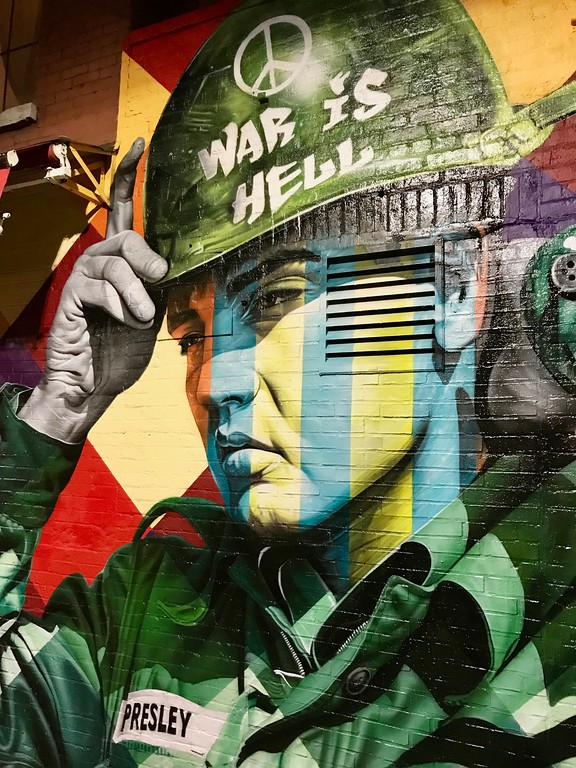 street art Elvis in Bedford Ave Brooklyn