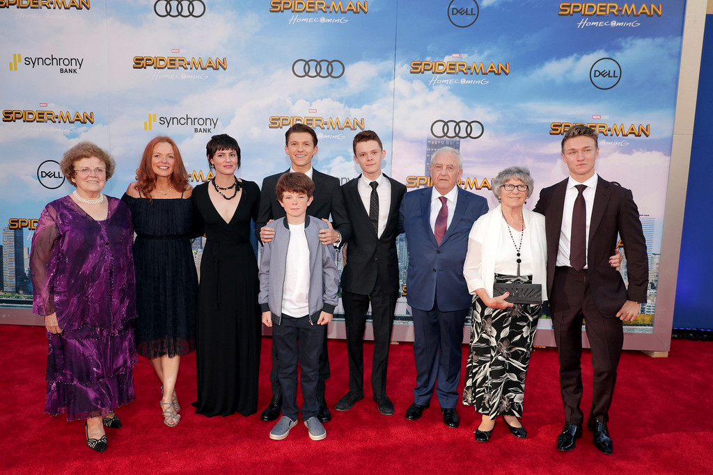 """. Tom Holland and family seen at Columbia Pictures World Premiere of \""""Spider-Man: Homecoming\"""" at TCL Chinese Theatre on Wednesday, June 28, 2017, in Hollywood, CA. (Photo by Eric Charbonneau/Invision for Sony Pictures/AP Images)"""
