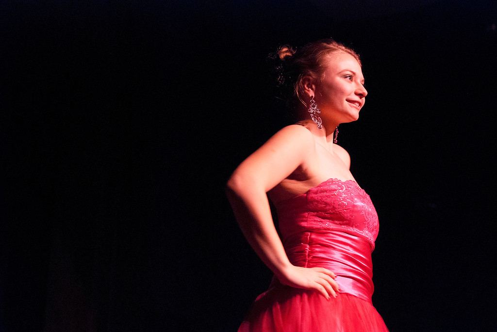 . Kayla Rice/Reformer Marissa Semenovich poses on the runway during the 2014 Winter Carnival on Friday evening.