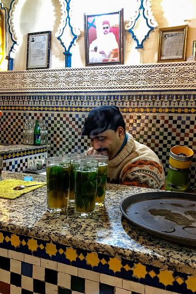 Making mint tea in the Fes Medina