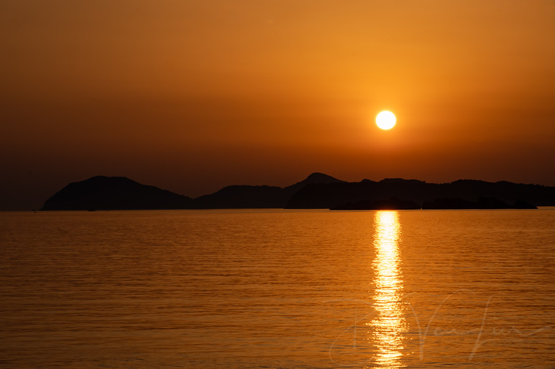 Sunset from a boat outside Dubrovnik