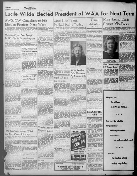Daily Trojan, Vol. 37, No. 114, April 25, 1946