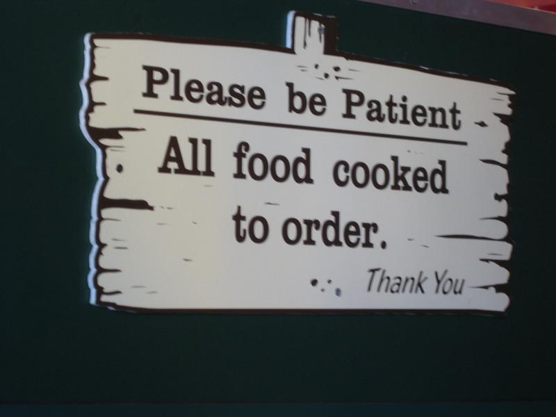 Sign at Dancing Bear Canteen.