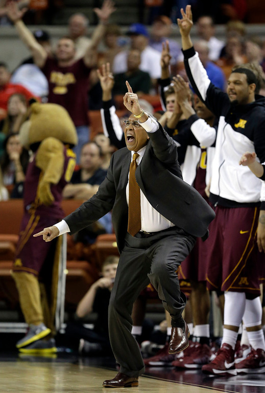. Minnesota coach Tubby Smith encourages his players to get back on defense against UCLA during the second half of a second-round game of the NCAA college basketball tournament Friday, March 22, 2013, in Austin, Texas. Minnesota won 83-63. (AP Photo/David J. Phillip)