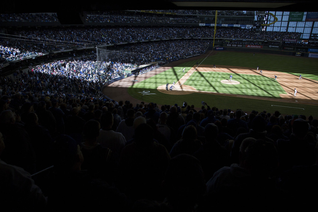 . MILWAUKEE, WI - APRIL 1: Late afternoon light paints the filed during the Milwaukee Brewers and Colorado Rockies game on opening day at Miller Park on April 1, 2013 in Milwaukee, Wisconsin.  (Photo by Tom Lynn/Getty Images)