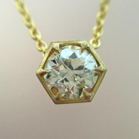 .65ct Old European Cut Diamond, Hex Setting in yellow gold