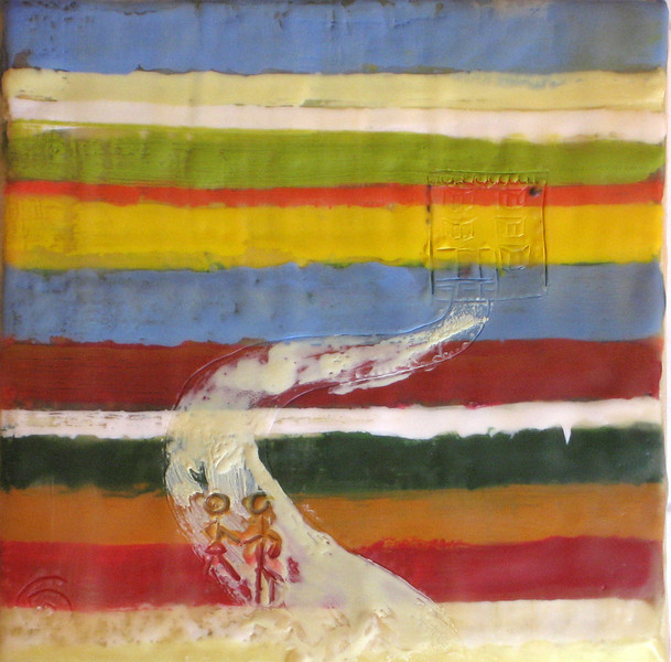 "2005  6"" x 6""  encaustic on canvas"
