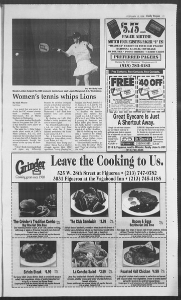 Daily Trojan, Vol. 127, No. 24, February 15, 1996
