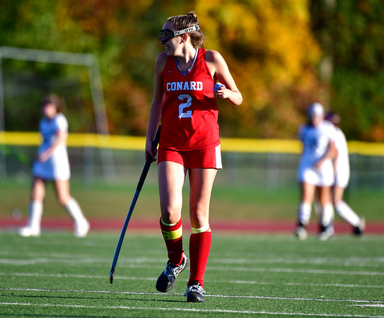 10/15/2019 Mike Orazzi | StaffrConard High Schools Grace Policelli (2) during a 2-2 tie in field hockey action with Southington High School in Southington on Tuesday afternoon. r