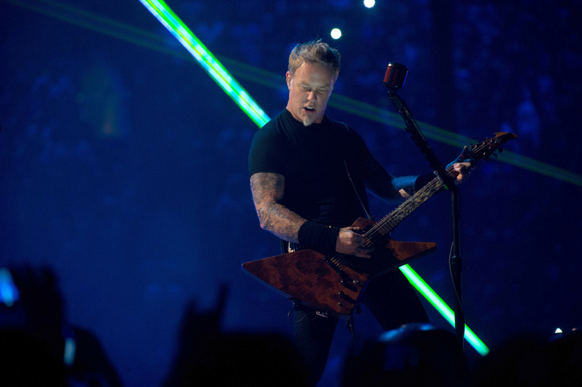 "Description of . James Hetfield plays guitar in ""Metallica: Through the Never."""