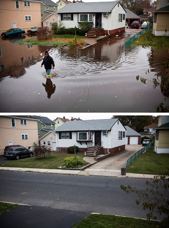 . LITTLE FERRY, NJ - OCTOBER 30:  (top) A man walks through a flooded street after Superstorm Sandy, on October 30, 2012, in Little Ferry, New Jersey.  LITTLE FERRY, NJ - OCTOBER 22:  (bottom)  The same house is shown in Little Ferry, New Jersey October 22, 2013.   Hurricane Sandy made landfall on October 29, 2012 near Brigantine, New Jersey and affected 24 states from Florida to Maine and cost the country an estimated $65 billion.  (Photos by Andrew Burton/Getty Images)
