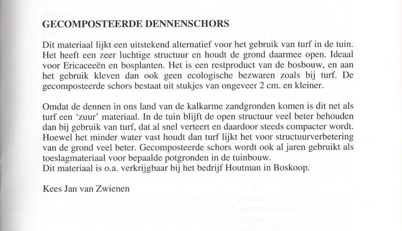 Gecomposteerde dennenschors, Nederlandse Rotsplanten Werkgroep Nieuwsbrief 54, Februari 1999