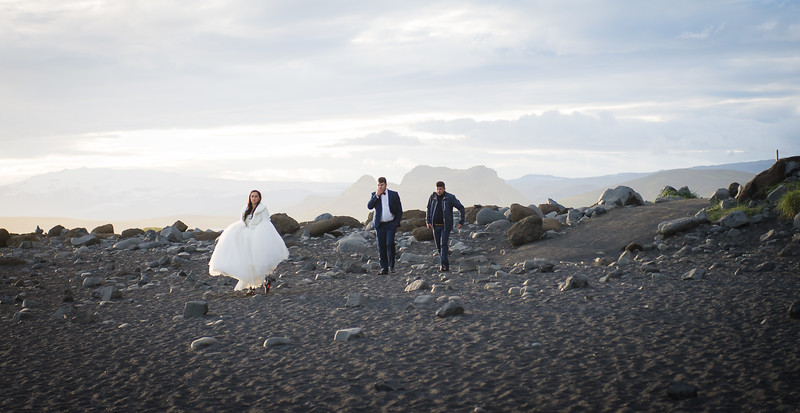 Bride and Groom at Reynisfjara Black Sand Beach