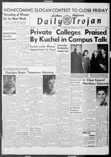 Daily Trojan, Vol. 45, No. 13, October 07, 1953